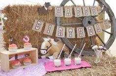 décoration de table d'anniversaire en été pour fille sur le thème de cowgirl