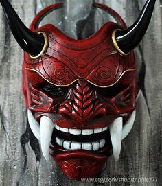 Samurai Assassin Demon Oni BB Gun Airsoft Masque, Halloween Costume Cosplay Ninja Warrior Devil Evil Hannya Kabuki Home Decor Wall Mask - - Ninja Rpg, Hannya Samurai, Samurai Helmet, Oni Maske, Airsoft Girls, Samourai Tattoo, Chinese Mask, Chinese Demon, Maske Halloween