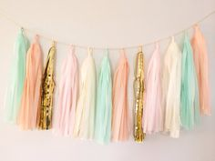 Peach Mint and Gold Tassel Garland Banner  Party by BlushBazaar