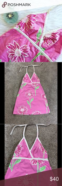 Lilly Pulitzer jumbo daisy halter dress Lilly Pulitzer dress   Jumbo daisy print   Pink   Halter   Size 8   100% cotton shell   Gently used with a stain on halter strap as pictured Lilly Pulitzer Dresses Mini