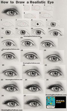 Step By Step Sketches, Sketches Tutorial, Step By Step Drawing, Art Drawings Sketches Simple, Pencil Art Drawings, Eye Drawing Tutorials, Drawing Techniques, Realistic Eye Drawing, Drawing Eyes