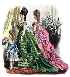 1870s Fashion | Full Color Victorian Fashions: 1870-1893, plate 9 ~ Courtesy of Dover ...