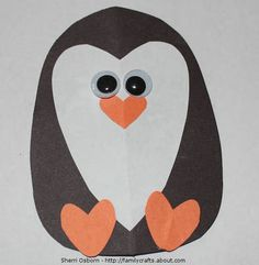 Shapes - penguin: construction paper, googly eyes. This would be great for Nipper's valentines card next year