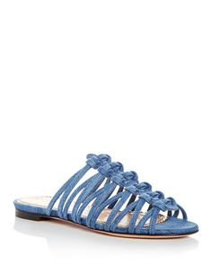 ccd00770e854 Charlotte Olympia Women s Bianca Knotted Denim Slide Sandals Shoes -  Bloomingdale s