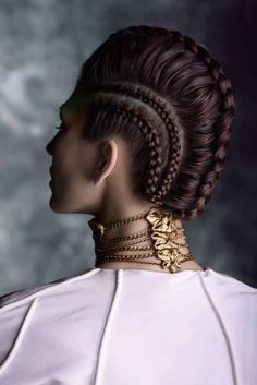 tight braids on side, central with volume - crew
