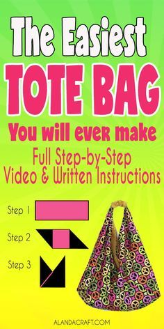 Origami Bag Tutorial: Easy to Make Market Tote Bag - A super easy bag to make AND it is fully lined. An easy sewing project. Makes great Christmas or Birthday sewing gifts. sew einfach clothes crafts for beginners ideas projects room Easy Sewing Projects, Sewing Projects For Beginners, Sewing Hacks, Sewing Tutorials, Sewing Tips, Tote Bag Tutorials, Bags Sewing, Quilt Patterns For Beginners, Sewing Clothes
