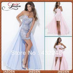 E0105 Free Shipping Sleeveless Chiffon Skirt High Low Short Lace Evening  Dress $117.99
