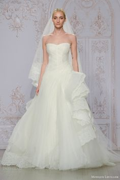 monique lhuillier bridal fall 2015 whisper strapless tulle lace ball gown wedding dress cascading horsehair skirt
