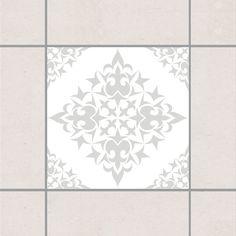 Fliesenaufkleber - Fliesenmuster White Light Grey 10x10 cm - Fliesensticker Set Grau