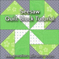 Seesaw quilt block tutorial in 3 sizes. Paper piecing and connector corner instructions included.