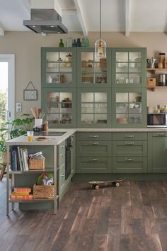 What You Need to Know About Modern Farmhouse Kitchen Design - athomebyte Green Kitchen Cabinets, Rustic Cabinets, Ikea Kitchen, Metal Cabinets, Kitchen Decor, Vintage Kitchen Cabinets, Kitchen Sinks, Old Kitchen, Kitchen Fixtures