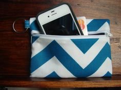 Keychain Wallet in Teal and White Chevron by stitch248 on Etsy, $12.00