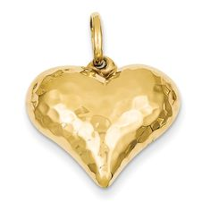14k Hollow Polished Hammered Medium Puffed Heart Charm D1044