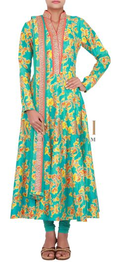Buy Online from the link below. We ship worldwide (Free Shipping over US$100) http://www.kalkifashion.com/catalog/product/view/id/14801/s/sky-blue-anarkali-in-silk-embellished-in-floral-print-only-on-kalki/