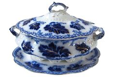 One Kings Lane - The Rich & Colorful Table - Flow Blue  Normandy Tureen & Tray