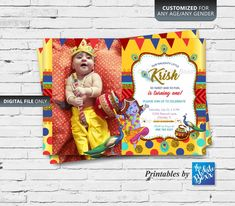 Krishna (Hindu God) themed Birthday Invite / Invitation card printable for Baby Boy - Any Age Baby Boy Birthday, Sons Birthday, First Birthday Invitation Cards, Krishna Birthday, Krishna Hindu, Monthly Baby Photos, Diwali Party, Baby Month By Month, Birthday Party Decorations