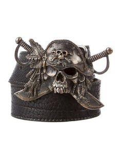 UGO Cacciatori Skull Leather Belt