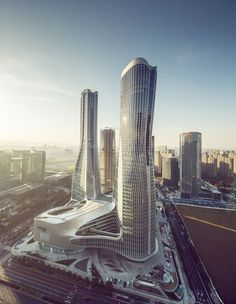 World Architecture Community News - UNStudio completed Raffles City complex with twisted towers in Hangzhou China Architecture, Modern Architecture Design, Futuristic Architecture, Sustainable Architecture, Amazing Architecture, Commercial Architecture, Amazing Buildings, Modern Buildings, Commercial Complex