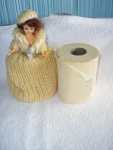 retro vintage doll with crocheted dress and hat covers tan colored toilet paper ebay