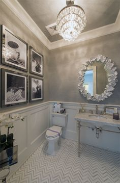 Love everything about this! Colors, wallpaper and fixtures! Via @Sarah Chintomby Sarna ID  | Live The Life You Dream About The Powder Room: Susan Glick for Holiday House Hamptons