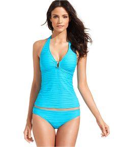 Lauren Ralph Lauren Swimsuit, Halter Textured Tankini Top \u0026amp; Textured Hipster Brief Bottom - Swimwear