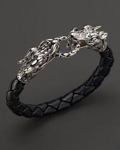 John Hardy Men s Naga Silver Black Woven Leather Dragon Bracelet Collar  Hombre 92d52357af9