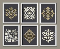 Set of 6 Dark Navy Linen Beige Gold Ornament Design Pattern Prints Wall Decor Abstract Art Bedroom Picture French Country on Etsy, $50.00