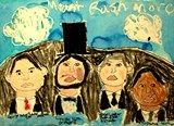 "Children study parts of the face. They choose four Presidents and apply the face to each. They place them on ""Mount Rushmore"". Discussion of oil pastel blending....Colored in with oil pastel....Washed over with watercolor."
