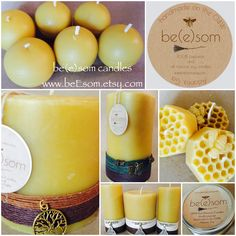 Handmade pure 100% beeswax candles made from local Georgia beeswax and hand-poured in the Old Fourth Ward in the heart of Atlanta. www.beEsom.etsy.com