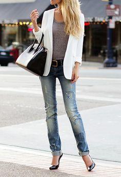Dressed up distressed denim. Seguici diventa nostra fan ed entrerai nel mondo fantastico del Glamour  Shoe shoes scarpe bags bag borse fashion chic luxury street style moda donna