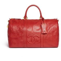 Vintage Chanel Large caviar leather Boston duffle bag (31.570 BRL) ❤ liked on Polyvore featuring bags, luggage and red