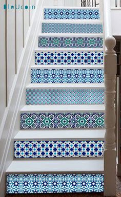 Marrakesh style stair case decal strips:   O R D E R . P A C K . I N C L U D E S  QUANTITY : You will receive 10 STRIPS in 4 different designs as picture to cover 10 steps, Each strip measures 49 (124cm) in length. SIZE : You can select the height of the riser from right side- size drop down button. In case you need a custom size ,write to us, we will make it free of cost ❤ COLOR : Mix of teal & Blue - as per picture attached INSTALLATION GUIDE FREE GIFT ❤   A B O U T Our tile decals are…