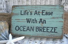 Handpainted Beach Sign Life's At Ease With An Ocean Breeze Carova Beach Crafts - DIY and Crafts Beach Room, Beach Art, Home Depot, I Need Vitamin Sea, Beach Crafts, Seashell Crafts, Beach House Decor, Beach Condo, Beach Cottages