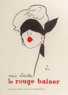 GRUAU, Rene. Sans hesiter le rouge baiser. – Sotherans Rene Gruau, New Pictures, Vintage Posters, Illustration, Creative, Prints, Movies, Painting, Art