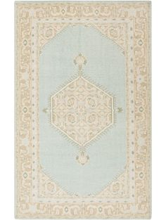 mirabelle rug, cream and mint
