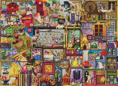 Sewing Crafts Toys New Ravensburger Jigsaw Puzzle The Craft Cupboard 1000 Piece 2014 Colin Thompson Ravensburger Puzzle, Modern Cross Stitch, Cross Stitch Kits, Puzzle Shop, Free Puzzle, 300 Piece Puzzles, Puzzle Crafts, Craft Cupboard, Puzzle 1000