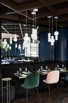 The PEARLS Suspension Lamp at Le Roch Hotel, Paris. Glass, Brass, LED. Also available in Chrome. Design by Benjamin Hopf. German Design Award Nominee 2017.
