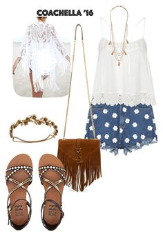 """Coachella"" by xiloveyoustyles on Polyvore featuring moda, Topshop, Yves Saint Laurent, Billabong, Jennifer Behr e Panacea"