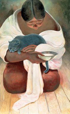 Woman with grey cat - Sandra Bierman