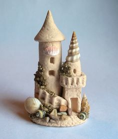 Miniature Seaside Sand Castle Tower 2 OOAK by by ArtisticSpirit | pinned by @weememories - Jenny Suchin