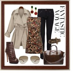 A fashion look from October 2013 featuring shift dress, brown coat and zip jeans. Browse and shop related looks. Fashion Looks, Brown, Coat, Polyvore, Outfits, Clothes, Shopping, Dresses, Women