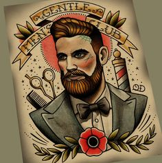 Gentlemen Club Tattoo Art Print par ParlorTattooPrints sur Etsy