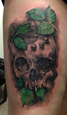 leaf and skull tattoo - 60 Awesome Skull Tattoo Designs