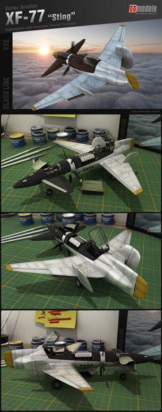 """XF-77 Sting by ~ttvortex Схема """"утка"""" и обратная стреловидность основного крыла."""