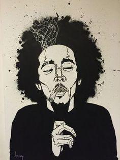 Bob Marley, painting by Arte Dope, Dope Art, Arte Bob Marley, Art Sketches, Art Drawings, Arte Do Hip Hop, Marijuana Art, Cannabis, Stoner Art