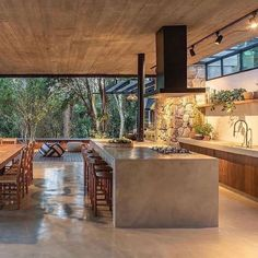 """Architecturehouse on Instagram: """"Open Kitchen design!✨ . . . . . _________________________________________________ #architecture #hotel #home #house #design #travel…"""" Concrete Kitchen, Concrete Floors, Tropical Kitchen, Waterfall Island, Rooftop Design, Cook Up A Storm, Tropical Houses, Open Kitchen, Open Concept"""