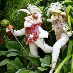 """Darcy & Darby Delphinium or """"The Phins Strolling through the Spring Garden"""" '11; created and photographed by Martha Young McQuilkin, Owner of Whimble Designs"""
