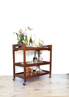 Tea Cart ~ Wooden Bar Cart ~ Danish Modern Walnut Rolling Bar, Tea Trolley ~ Serving Cart / TV Cart by LUCKYHOMEFINDS on Etsy