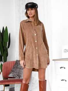 Πουκάμισο Μακρύ Κοτλέ Μπεζ - Higher Love Sweaters, Shirts, Tops, Dresses, Fashion, Vestidos, Moda, Fashion Styles, Pullover