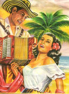 Paisajes y Bodegones: PINTURA: SERENATA A MI NOVIA  PAREJA DE ENAMORADOS EN LA PLAYA ÉL LE DÁ SERENATA    Arte Costumbrista del Caribe Colombiano    PINTORES COSTEÑOS    Colombia y el Arte Figurativo